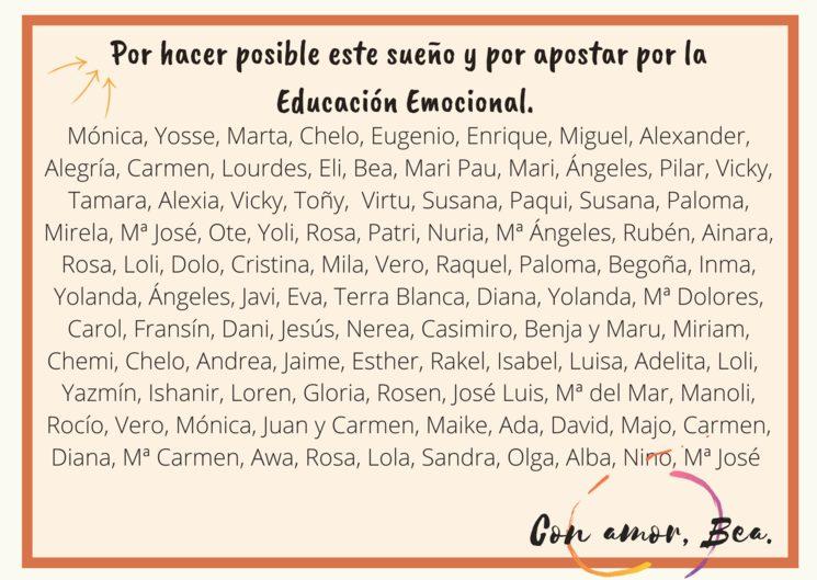 Nombres de los/las mecenas.