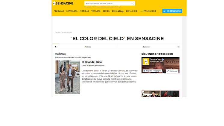 Publicación de Sensacine