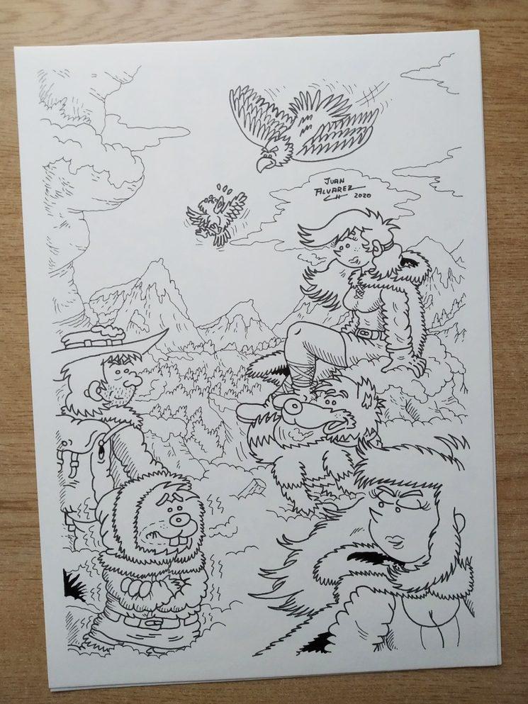 Fenris 2 - Ilustración de grupo a tinta
