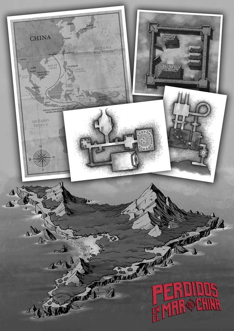 Mapas y planos para Perdidos en el Mar de China y maquetación de Go to Hell.