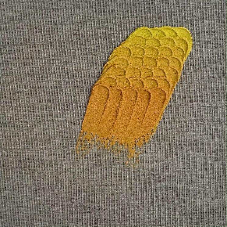 """Yellow-orange"", 27x27, acrylic and mixed media on linen."