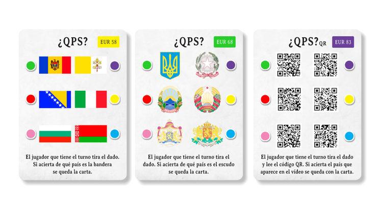 Cartas QPS de banderas, escudos y QR