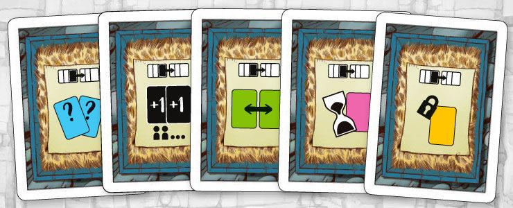 Cada jugador cuenta con 5 cajas de su color y con los mismos poderes especiales.