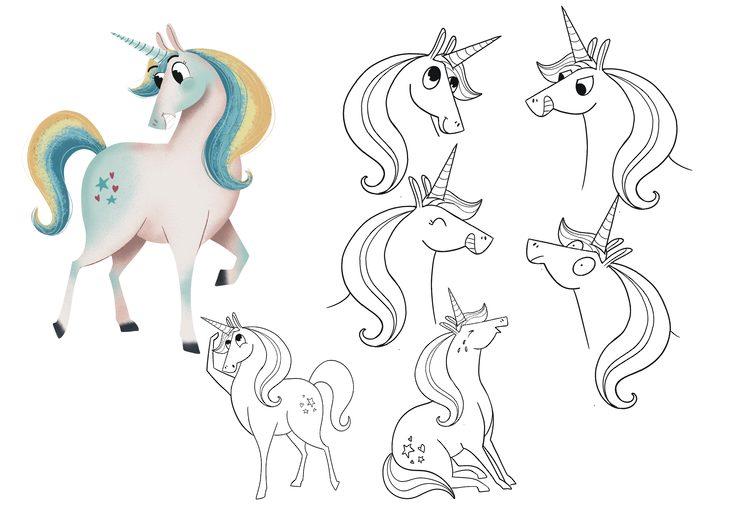 Bocetos de Unicornio, protagonista de la historia