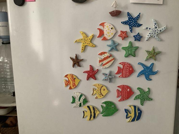 imanes de peces hechos a mano