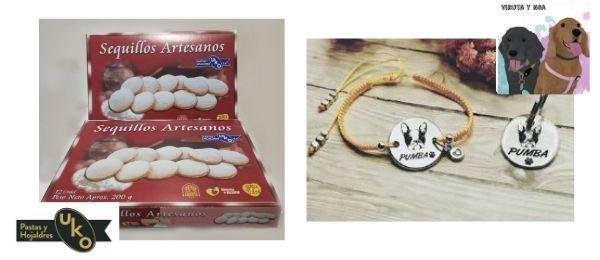 Sequillos artesanos, de Pastas UKO y conjunto de pulsera y placa identificativa, de Viruta y Noa